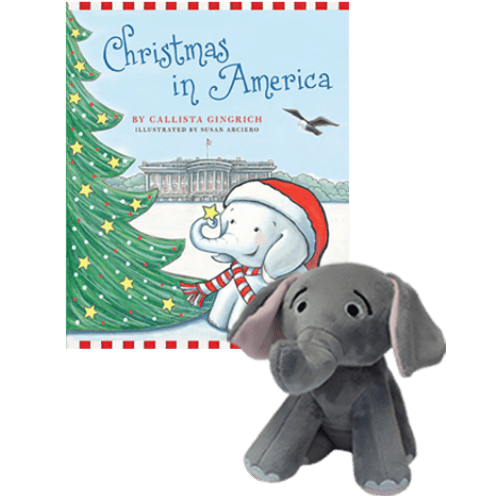 Ellis the Elephant Christmas in America with Plush Toy Set by Callista Gingrich